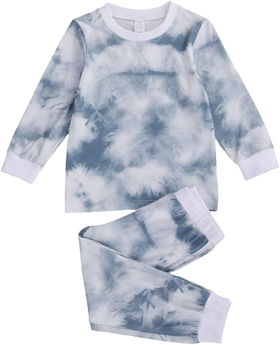 Kid Baby Boys Girls Pajama Clothes Tie Dye Long Sleeve T-Shirt Sweatshirt Top Long Pants Fall Winter Outfits Sleepwear 6M-7Y