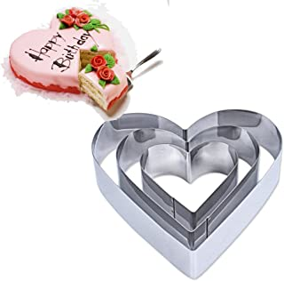 TAMUME Stainless Steel Heart-Shape Cake Tin Set of 3 for Layer Cake Mould Mousse Ring Mould Ideal for Wedding Cake Mould Set and Dessert Mould (Heart)