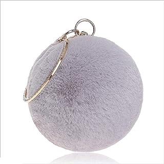 DIEBELLAU Women's Fur Handbag Fashion Banquet Bag Spherical Fur Evening Dress Evening Bag (Color : Gray, Size : XS)