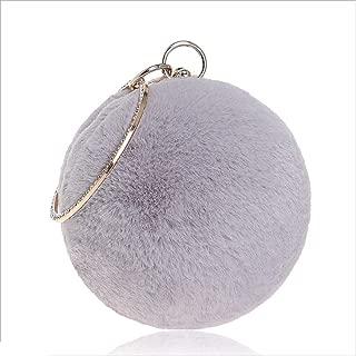 Fashion Women's Fur Handbag Fashion Ladies Banquet Bag Spherical Fur Evening Dress Evening Bag Unique Evening Bag (Color : Gray, Size : XS)
