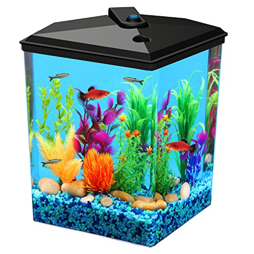 Koller Products AquaView 2.5-Gallon Fish Tank with Power Filter and LED Lighting