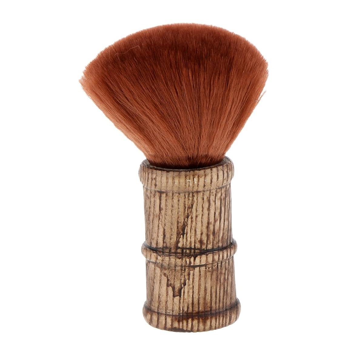 朝ごはん蒸気夢中Homyl ネックダスターブラシ ヘアカットブラシ メイクブラシ サロン 理髪師 散髪 ブラシ 滑り防止 耐久性 2色選べる - 褐色