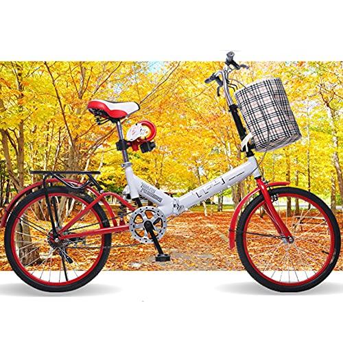 GWL Bicicleta Plegable para Adultos,Bicicleta De Montaña De 20 Pulgadas, Bike Sport Adventure, Portátil,Duradera,Bicicleta De Carretera, Bicicleta De Ciudad, Frenos en V Delanteros y Traseros/Red