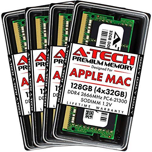 A-Tech 128GB Kit (4x32GB) DDR4 2666MHz RAM for Apple 2019 & 2020 iMac 27 inch Retina 5K (iMac19,1 iMac20,1 iMac20,2) | PC4-21300 SO-DIMM 260-Pin Max Memory Upgrade