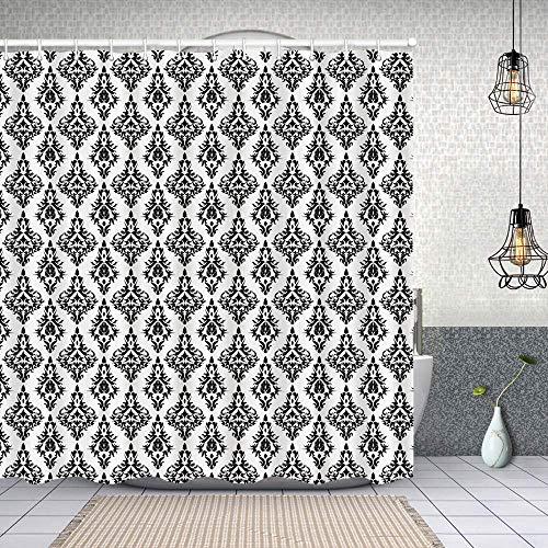 Cortina de Baño con 12 Ganchos,Azulejos de patrón de Damasco Arte de Plantilla Barroco Moderno nostálgico Retro Intercambiable,Cortina Ducha Tela Resistente al Agua para baño,bañera 150X180cm