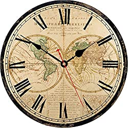 VIKMARI Home Decor Clock 14 Inch Battery Operated Silent Non-Ticking Vintage Wall Clock World Map Design Wall Clocks Wooden Round Roman Numerals Indoor Clocks