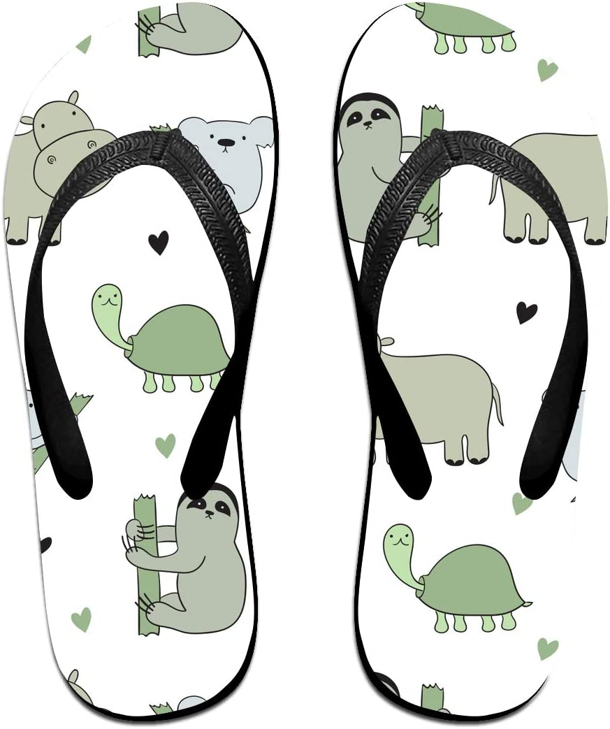 SWIMGJ528 Koala Sloth Hippo Turtle Pattern Adults Summer Beach Colorful Printing Flip Flop for Men & Women