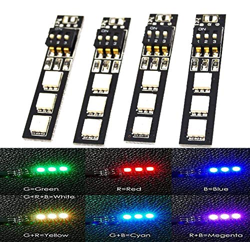 LHI 7 Colors RGB 5050 LED Strip Night Light 12V with Dip Switch 30mm Wire for ZMR250 QAV250 FPV 250 RC FPV Quadcopter (4PCS)