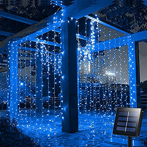 4m ×1m Solar Garden Curtain Lights String Outdoor Blue, 200 LED 8 Modes LED Icicle String Lights for Patio, Deck, Yard, Wedding, Party Fence Backdrop Wall Home Decoration