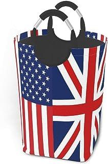 N\A Paniers de Rangement Drapeau américain et Britannique Panier à Linge Sale Flexible Sac Organisateur écologique Chariot...
