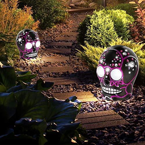 2er Set LED Totenkopf Solar Lampe Außenbereich Garten Leuchte Kristalle klar lila schwarz
