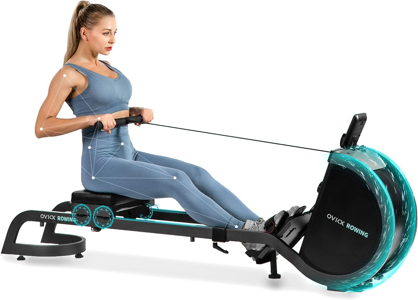 OVICX Magnetic Rowing Machine for Home Use Foldable Indoor Rower Exercise Equipment for Whole Body Workout with Double Track