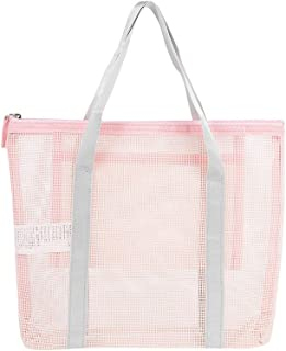 MINISO Plastic Mesh Handbag Transparent Totes Shoulder Bag for Women, Pink