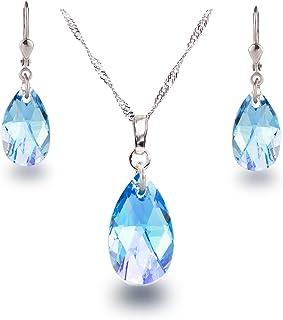 Diamantes De Imitación de Cristal Lágrima Colgante Collar De Plata Pendientes /& Juego Colgante UK