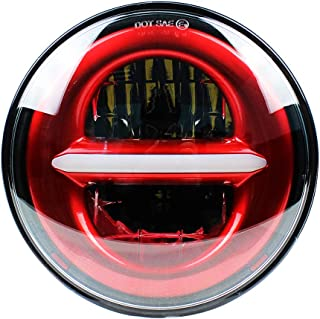 2019 New Brightest 5-3/4 5.75 Inch Projector LED Headlight for Street Bob Nightster Night Rod Headlamp Projector Driving Light Motorcycles Headlamp 50W (Red)