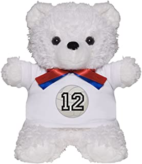 CafePress Volleyball Player Number 12 Teddy Bear, Plush Stuffed Animal