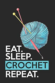 CROCHET: Funny Novelty Crochet Gift Notebook: Awesome Lined Journal For Crocheters: Cute Blue Yarn