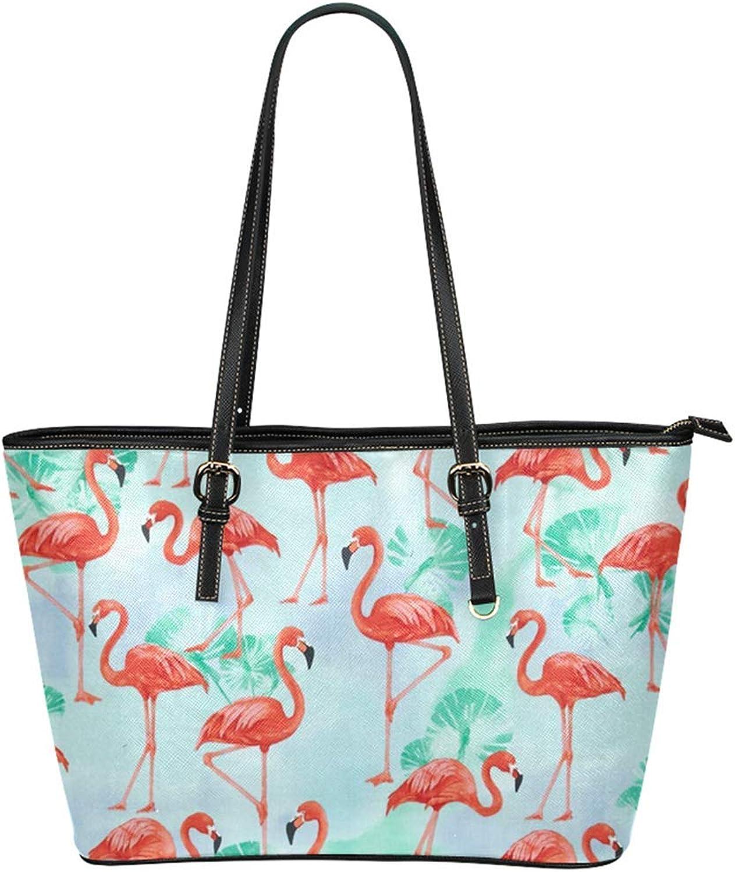 Cucoolso 16  Womens Leather Tote Bag Big Capacity Shopper Should Travel Handbag with Flamingo Print