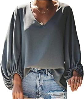 WSPLYSPJY Women's V Neck Blouses Tops Oversized Long Lantern Sleeve Pullover Shirts