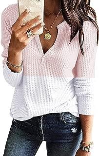 Women's V Neck Waffle Knit Henley Tops Casual Long Sleeve...