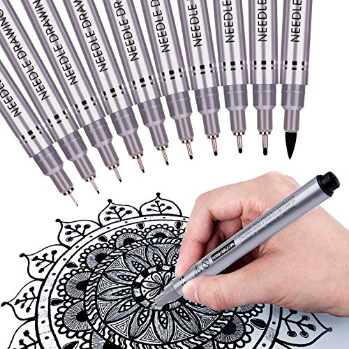 MISULOVE Precision Micro-Line Pens, Fineliner, Multiliner, Waterproof Archival ink Calligraphy Pens for Artist Illustration, Sketching, Technical Drawing, Anime, Lettering, 10/Size(Black)
