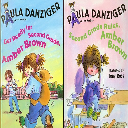 'Get Ready for Second Grade, Amber Brown' and 'Second Grade Rules, Amber Brown' audiobook cover art