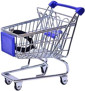 VONGEE ミニスーパーマーケットハンドトロリーショッピングユーティリティカート収納バスケットふりキッズ-ブルー