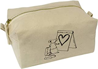 'Heart Artist Rat' Canvas Wash Bag / Makeup Case (CS00018413)