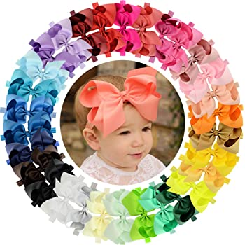 20 Pieces 6 Inch Baby Girls Hair Bows Headbands Large Bow Soft Elastic Stretchy