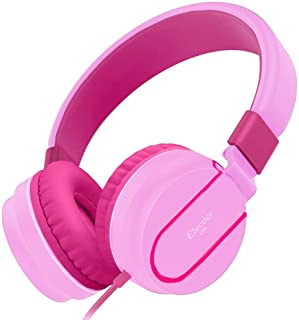 Elecder i36 Kids Headphones Children Girls Boys Teens Foldable Adjustable On Ear Headphones 3.5mm Jack Compatible iPad Cellphones Computer Kindle MP3/4 Airplane School Tablet Pink/Rose