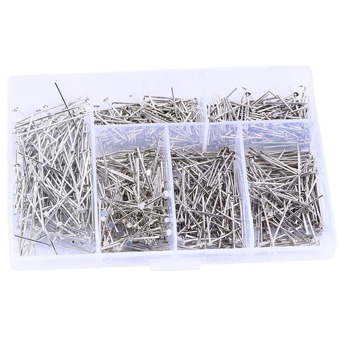 1 Box Silver Plated Assorted Size Head Pin Electroplating Iron T Shape Flat Head Pins Jewellery Findings DIY Jewelry Making for Handmade Pearl Bead Chain Necklace Material Package