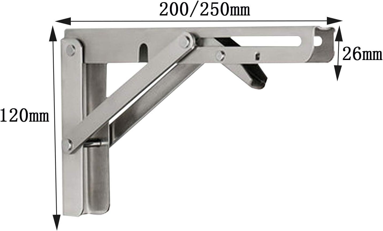 Staffe per Mensole per Impieghi Gravosi 304 Acciaio Inox Cucine Facile da Installare Carico Massimo 300 kg Bagni Garage TTBB Coppia Supporti Ripiani Pieghevoli
