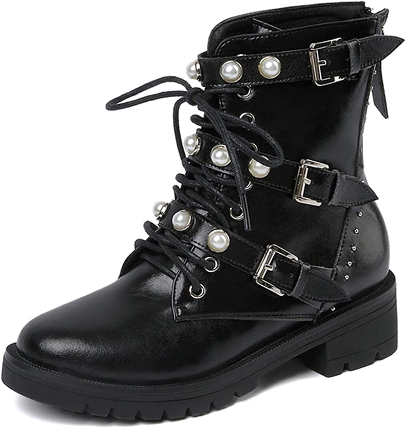 Genuine Leather Pearl Woman Boot Buckle Boots Boot Woman Female Ankle Boots