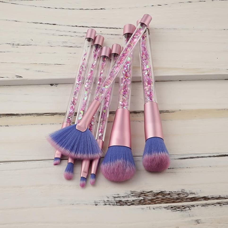 カバーハーフ窓DYNWAVE メイクブラシ 7本セット 化粧筆 ファンデーションブラシ フェイスブラシ 高級毛質 ピンク