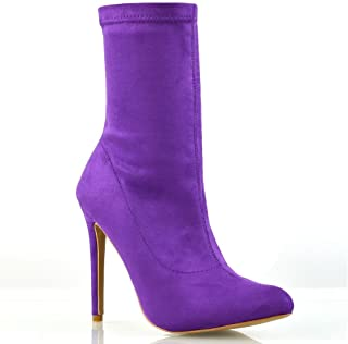 Womens Stretch Stiletto High Heel Booties Pull On Pointed Toe Sock Ankle Boots