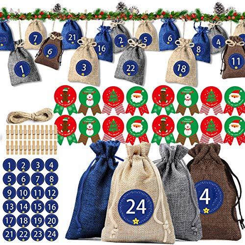 iteaauk 24 Adventskalender zum Befüllen, 1-24 Adventszahlen Aufkleber, Weihnachten Geschenksäckchen - zum Befüllen und aufhängen, Weihnachten