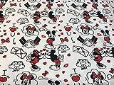 telas de disney, tela de mickey & minnie corazones, popelina algodón 100%, telas infantiles, ENVIOS GRATUITOS.