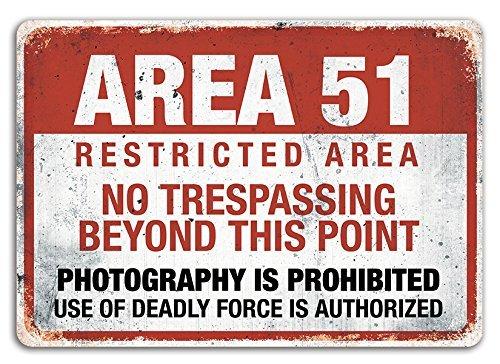Área 51 - Placa de metal para pared con texto