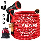 25FT Expandable Garden Hose, Extra Strength Fabric Leakproof Flexible Water Hose with Multifunctional Sprayer and 3-Layers Latex Core, 2020 Upgraded Expanding Hose with 3/4' Solid Brass Fittings