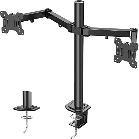 """ERGO TAB Dual LCD LED Monitor Desk Stand Mount-Fully Adjustable Arms Monitor Mount for 13"""" to 27"""" Computer Screens with Vesa 75 100,Black (EBCM7)"""