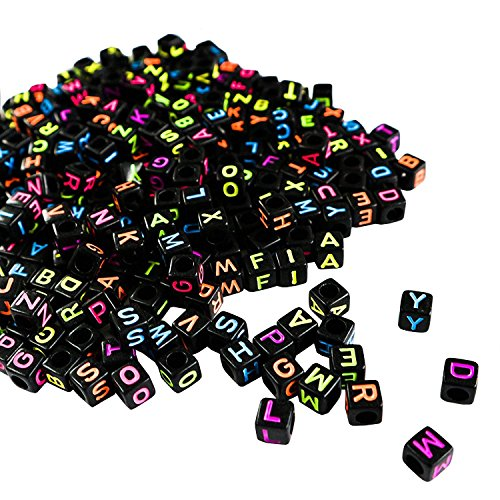 SODIAL Perles Carrees Alphabet Noires et Fluo pour Fabrication de Bijoux et Loisirs Creatifs par