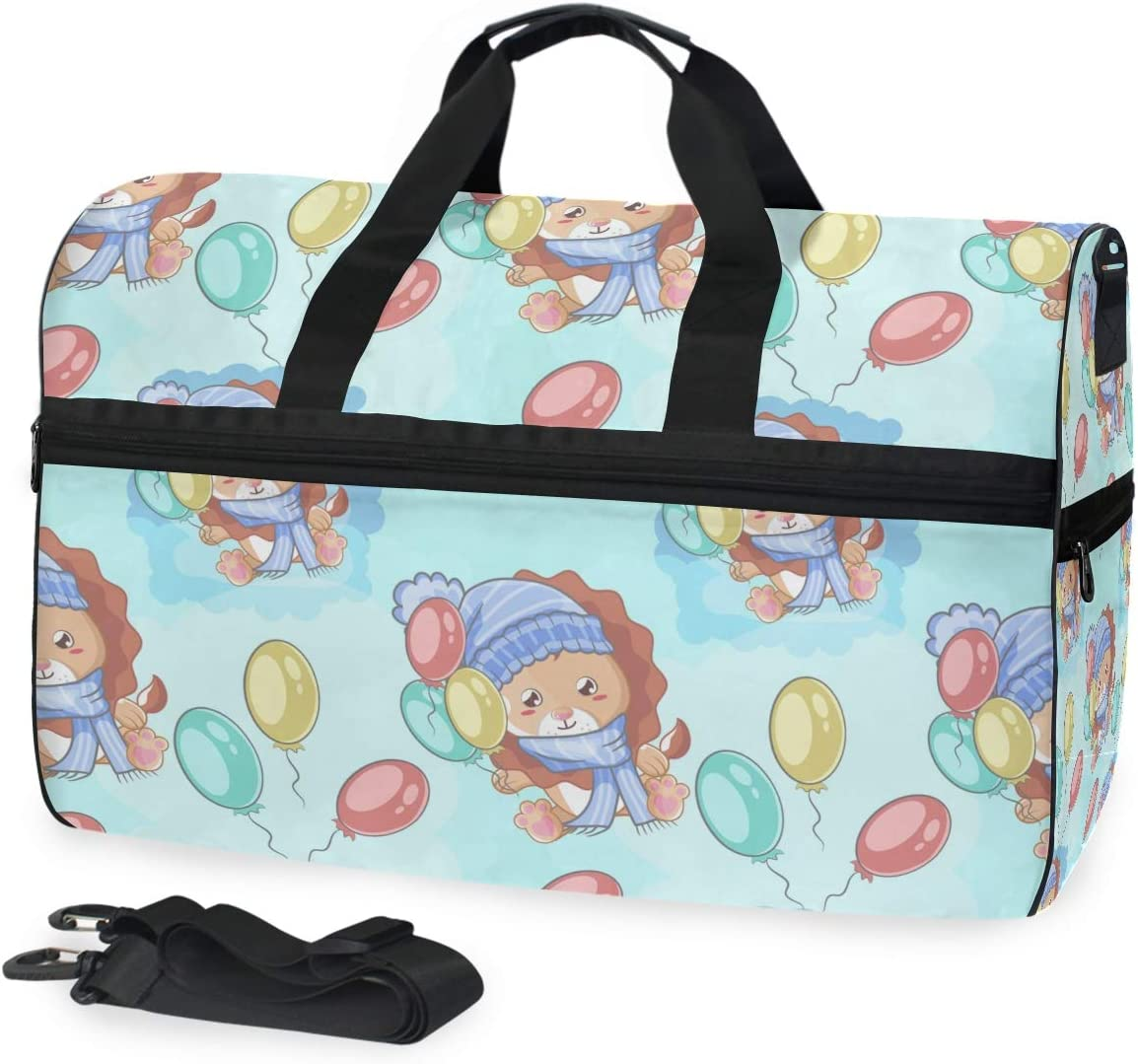 Sports Swim Award-winning store Gym Bag with Shoes Cute Balloons Lion Happy OFFicial shop Compartm