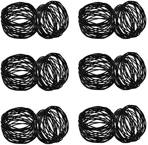 Kaizen Casa Serviettenringe, handgefertigt, Schwarz, 6er Set, Metallgeflecht, für Hochzeiten, Dinnerpartys oder den täglichen Gebrauch. Schwarz