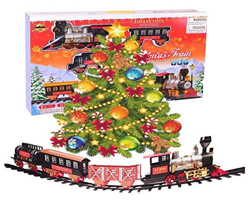 Northern Express Christmas Train set - Around the Tree Holiday Santa Train set - Large Scale 20pcs Train Model