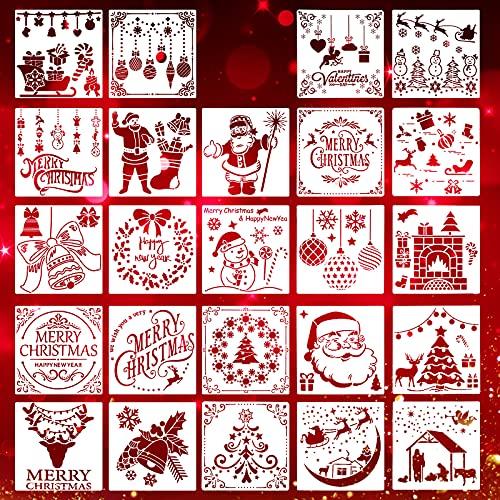 24 Plantillas de Navidad Plantillas Reutilizables de Pintura Artesanal de Plástico Plantilla de Diario de Pulverización Dibujo, Proyectos de Bricolaje Tarjeta de Navidad (Patrón Clásico)