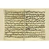 BiblioArt Series 】J. S. バッハ自筆譜『無伴奏ヴァイオリンのためのパルティータ第2番-シャコンヌ冒頭部分』-A3版サイズ額絵