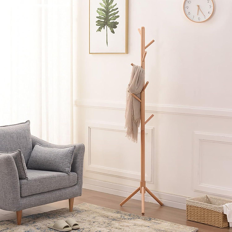 LFF- Easy Assembly Single Rod Hanger Hanging Floor Natural Wood Ivory Honey color Bedroom Solid Wood Coat Rack Home Living Room Clothes Shelf (color   Natural Wood, Size   B)