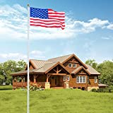 VINGLI Upgraded 25FT Sectional Aluminum Flagpole, Thick Tube Halyard Flag Pole,Kit Free 27~33mph, with 3'x5' Polyester USA American Flag, Golden Ball Top Halyard Rope PVC Sleeve, Outdoor Residential