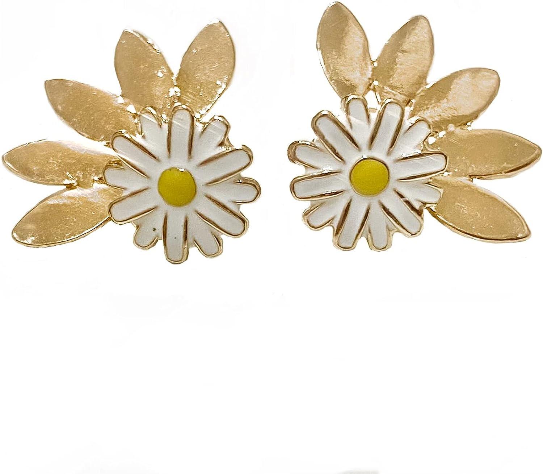 Daisy Golden Fan Jacket Earrings