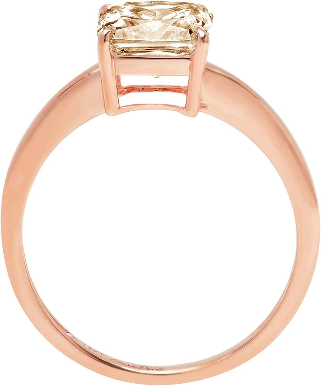 2.4ct Brilliant Asscher Cut Solitaire Designer Genuine Natural Morganite Ideal VVS1 4-Prong Engagement Wedding Bridal Promise Anniversary Ring Solid 14k Rose Gold for Women